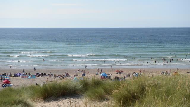 Landscape scene of beach in Cornwall, UK.