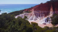4K Landscapes: Aerial view of the Pinnacles rock formations and sea, New South Wales, Australia