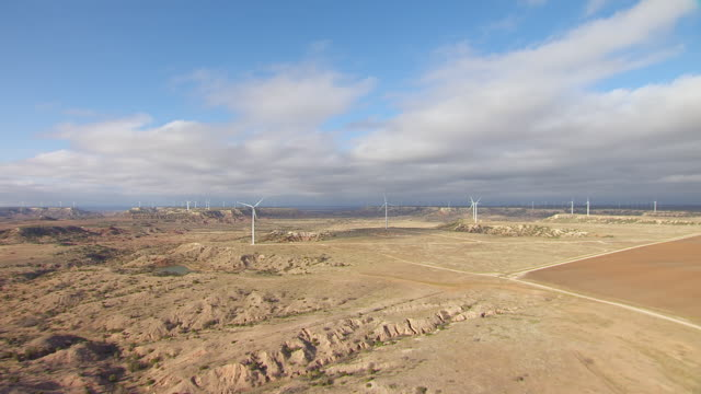 WS AERIAL Landscapes with windmill in Panhandle Plains / Texas, United States