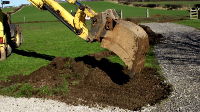 Landscaping with a digger