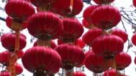 MS Lanterns hanging in front of temple / Yu Yuan Gardens, Shanghai, China