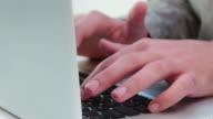 Laptop Keyboard, man typing.