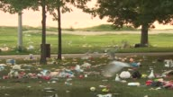 WGN Large amounts of garbage and debris litter the park by Montrose Beach on July 14 2014 in Chicago Illinois