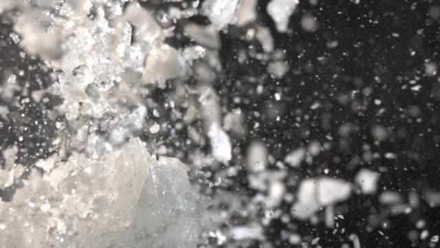 CU SLO MO Large block of ice exploding into tiny pieces / United Kingdom