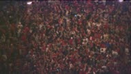 WGN Large Crowd Outside of Wrigley Field Celebrating Blackhawks Stanley Cup Win on June 15 2015 in Chicago Illinois