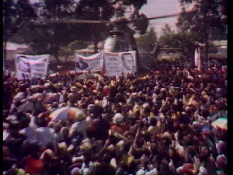 Large crowds welcome arrival of Joshua Nkomo following his exile from Rhodesia 1980s