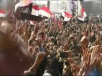 Large crown of antiMubarak protesters in Tahrir Square