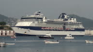 MS Large cruise ship and small boats in Acapulco Bay / Acapulco, Guerrero, Mexico