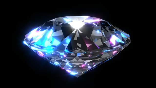 CU large diamond rotating with black background
