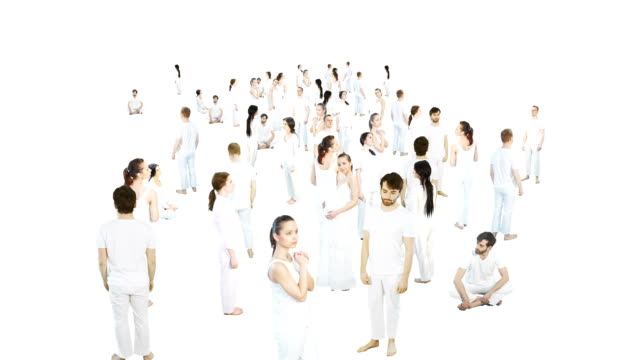 Large group of people in white