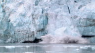 WS, ZI, MS, Large ice chunk calving off Margerie Glacier into water, Tarr Inlet, Glacier Bay National Park and Preserve, Alaska, USA