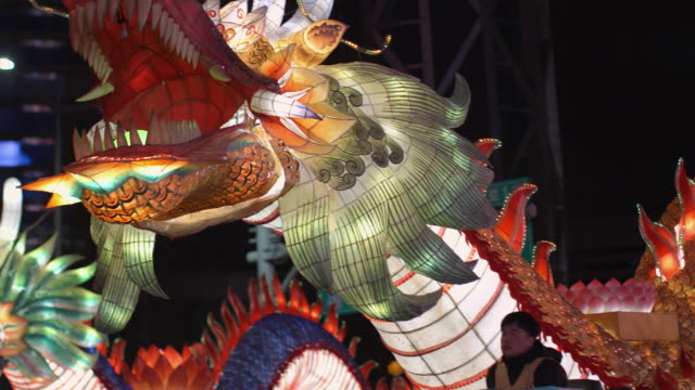 CU PAN Large illuminated breathing dragon at Buddha's day Lantern parade, night, Seoul, South Korea