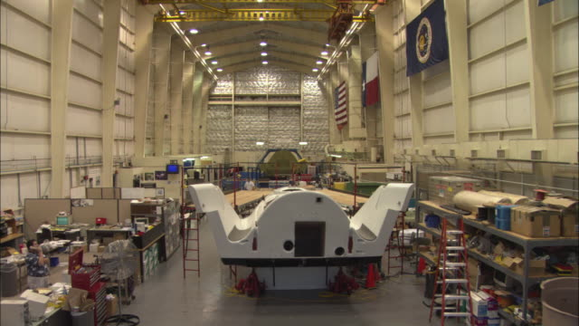 WS CS HA Large research room with mock-up of X-38 Crew Return Vehicle (CRV), Houston, Texas, USA