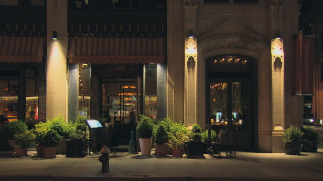 TS NIGHT large restaurant with planters outside TU to building / New York, New York, USA