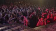 WS CS PAN Large rock concert crowd cheering
