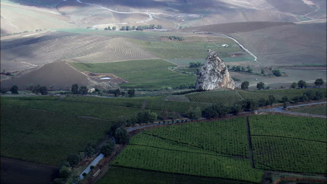 Large Rock In Landscape Near Borgo Schiro  - Aerial View - Sicily, Province of Palermo, Monreale, Italy