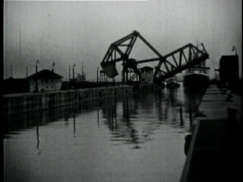 1929 B/W MONTAGE Large ship entering dock / New Orleans, Louisiana
