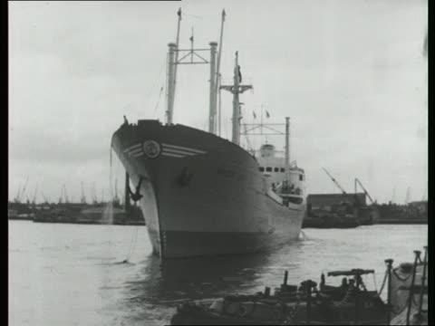 Large ship moored on River Thames