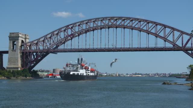 Large ship travels along the East River as Amtrak train crosses Hell Gate Bridge above.