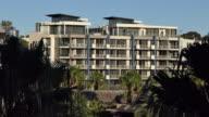Large upscale modern architectural condo apartment complex