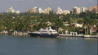 WS ZI PAN POV  Large yacht docked on private pier in a residential section of Miami on Biscayne Bay / Miami, Florida, USA