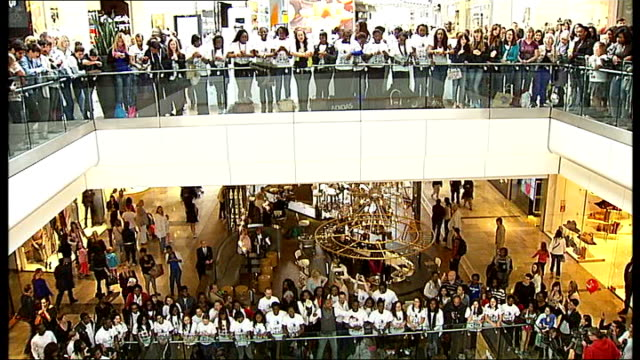 Largest gospel choir world record attempt at Westfield Shopping Centre ENGLAND East London Stratford Westfield INT General view of large choir in...