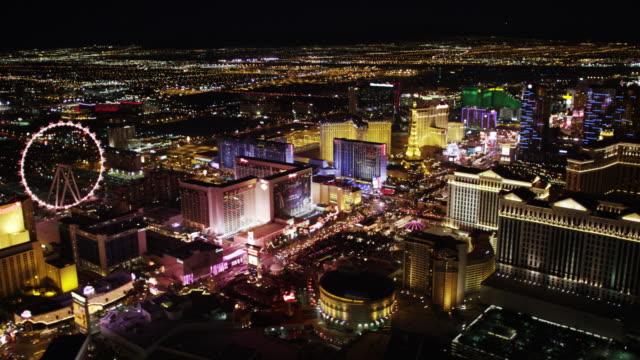 Veduta aerea di Las Vegas Strip di notte