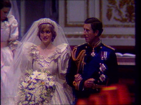 Last ever 'News At Ten' LIB London St Paul's Cathedral Int Prince and Princess of Wales walking down the aisle on their wedding day LIB AFRICA Cape...