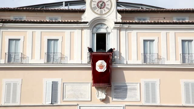 BROLL Last public appearance of Benedict XVI at Castel Gandolfo on February 28 2013 in Rome Italy