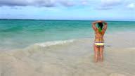 Latino Woman Bathing in Punta Cana, Dominican Republic