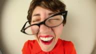 Laughing Fisheye Nerd Woman