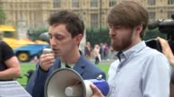 Laughing Gas demonstration in Parliament Square ENGLAND London Parliament Square THROUGHOUT *** Laughing gas cannisters and balloons laid on ground /...