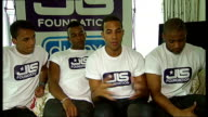JLS launch brand of contraceptives to promote safe sex ENGLAND London INT JLS band members taking seats for press conference wearing 'JLS Foundation'...