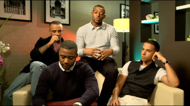 JLS launch new perfume 'Love' Interview ENGLAND London interview SOT / Bottle of perfume 'Love' by JLS on shelf / close shots of perfume bottle