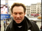 Launch of 26foot model of American footballer Christian Slater interview SOT On 'soccer' and 'football' distinction / On features of american...