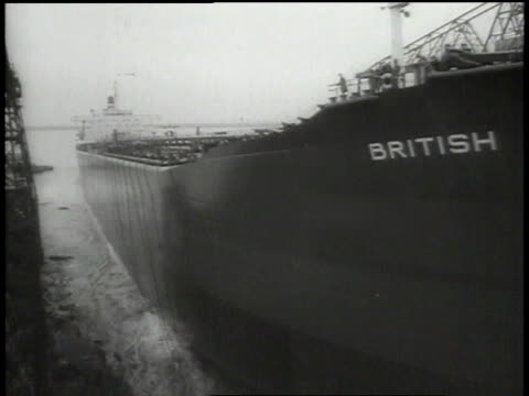Launching of largest tanker ever built in Britain / United Kingdom