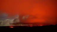 Lava moonlight timelapse Night Glowing Hot flow from Kilauea Active Volcano Puu Oo Vent Active Volcano Magma