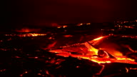 Lava rocks lift timelapse Night Glowing Hot flow from Kilauea Active Volcano Puu Oo Vent Active Volcano Magma