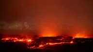 Lava under the moonlight timelapse Night Glowing Hot flow from Kilauea Active Volcano Puu Oo Vent Active Volcano Magma