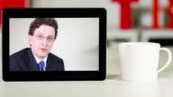 Lawyer consultation on digital tablet