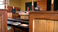 Lawyer questioning Witness with Jury - Two Shots