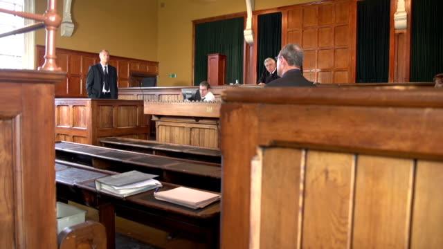 Anwalt Fragen Zeuge mit Jury-zwei Aufnahmen