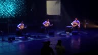 Le Trio Joubran threepeople oud crew – brothers Samir Adnan and Wissam Joubran play their ouds during their Guinness World Record attempt at Ramallah...