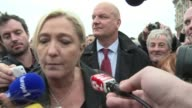 Leader of Frances far right National Front Marine Le Pen visits the northern port of Calais to discuss immigration as tensions rise between migrants...
