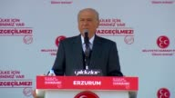 Leader of opposition Nationalist Movement Party Devlet Bahceli holds a public rally as part of constitutional referendum campaign on March 26 2017 in...