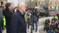 Leader of the Labour Party Jeremy Corbyn addresses the Stop Trident Demonstration Takes Place In Central London on February 27 2016 in London England