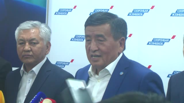 Leader of the Social Democratic Party of Kyrgyzstan and presidential candidate Sooronbay Jeenbekov holds a press conference after announcement of...