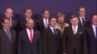 EU leaders hold an emergency summit on migrant crisis and make press statement before the meeting in Brussels Belgium on 23 April 2015