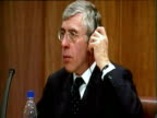 Leaders including Jack Straw and Hassan Rowhani of EU3 nuclear negotiations give press conference Geneva 29 Mar 05