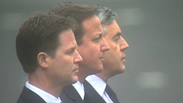 Leaders of the three main political parties Prime Minister Gordon Brown David Cameron and Nick Clegg at the Cenotaph on 65th anniversary of VE Day...